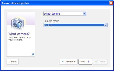 Select the drive or type of camera you want to recover the images from