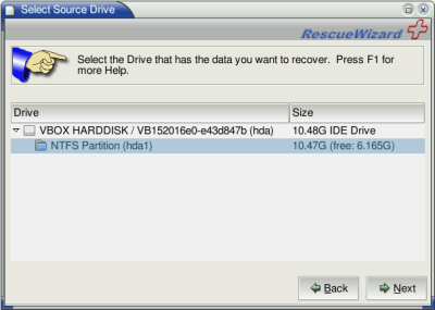 Selecting the Source Drive