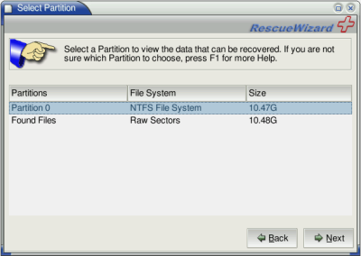 Selecting a partition