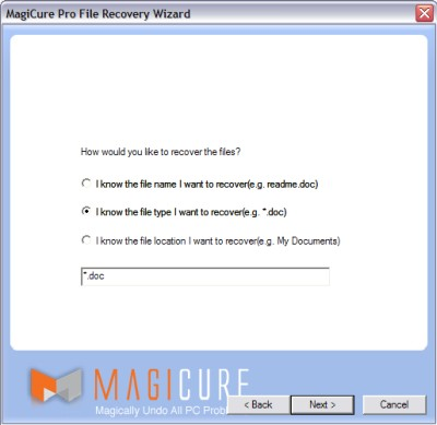 Specifying the files to recover