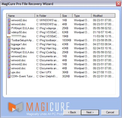 Showing the list of recoverable files