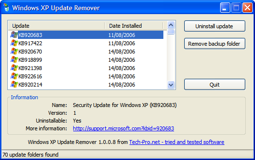 Windows XP Update Remover screenshot